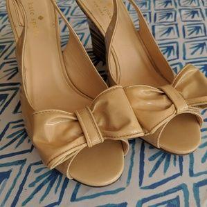 Kate Spade tan bow wedge heels